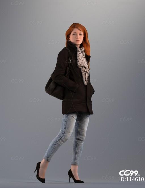 3D扫描角色 写实女性 休闲出街服饰