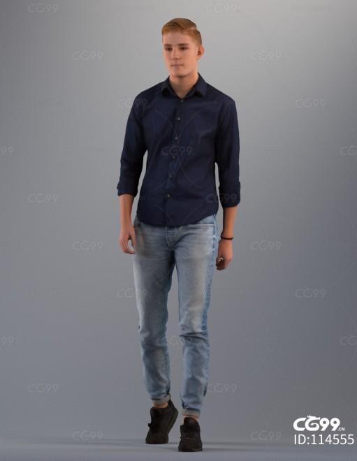 3D扫描角色 写实人物 休闲衬衫服饰 IT男