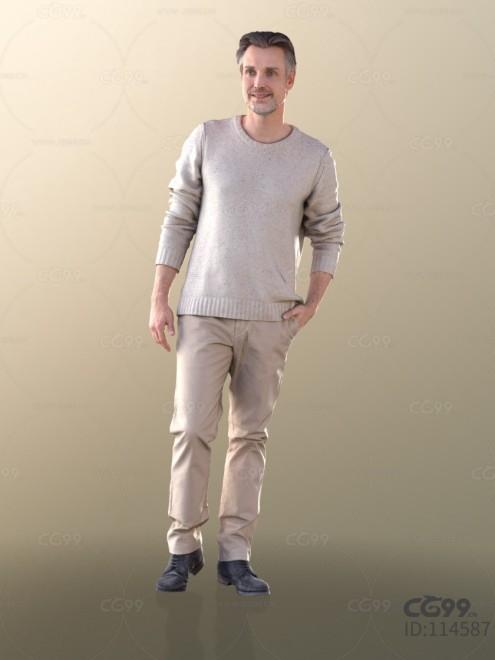 3D扫描角色 写实男性 休闲秋季服饰 毛衣