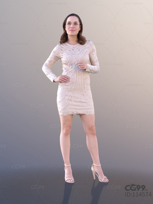3D扫描角色 写实女性 休闲服饰 蕾丝短裙