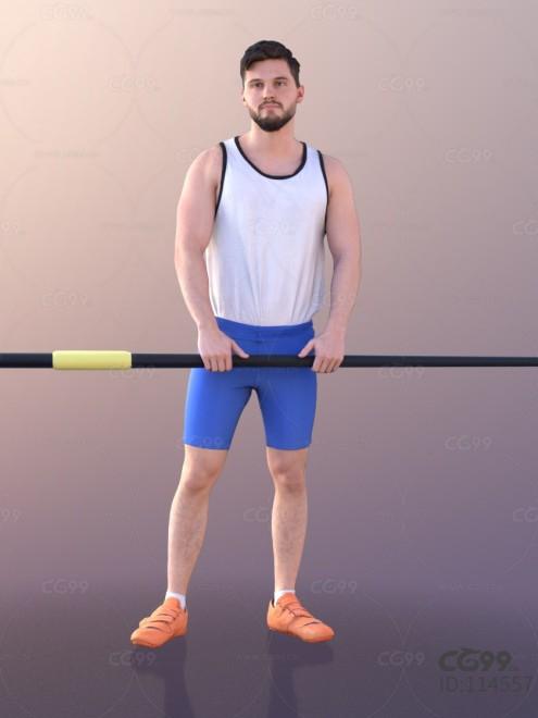 3D扫描角色 写实男性 运动服 赛艇运动员