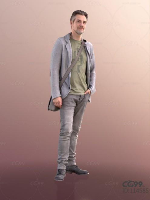 3D扫描角色 写实男性 休闲服饰 军绿T恤