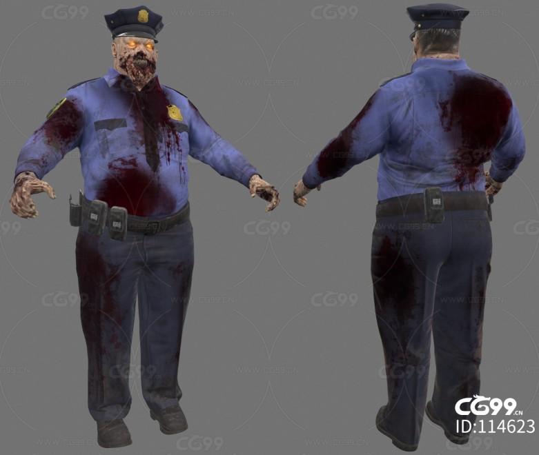 次时代PBR 写实 人形怪物 幻想 警察警长僵尸