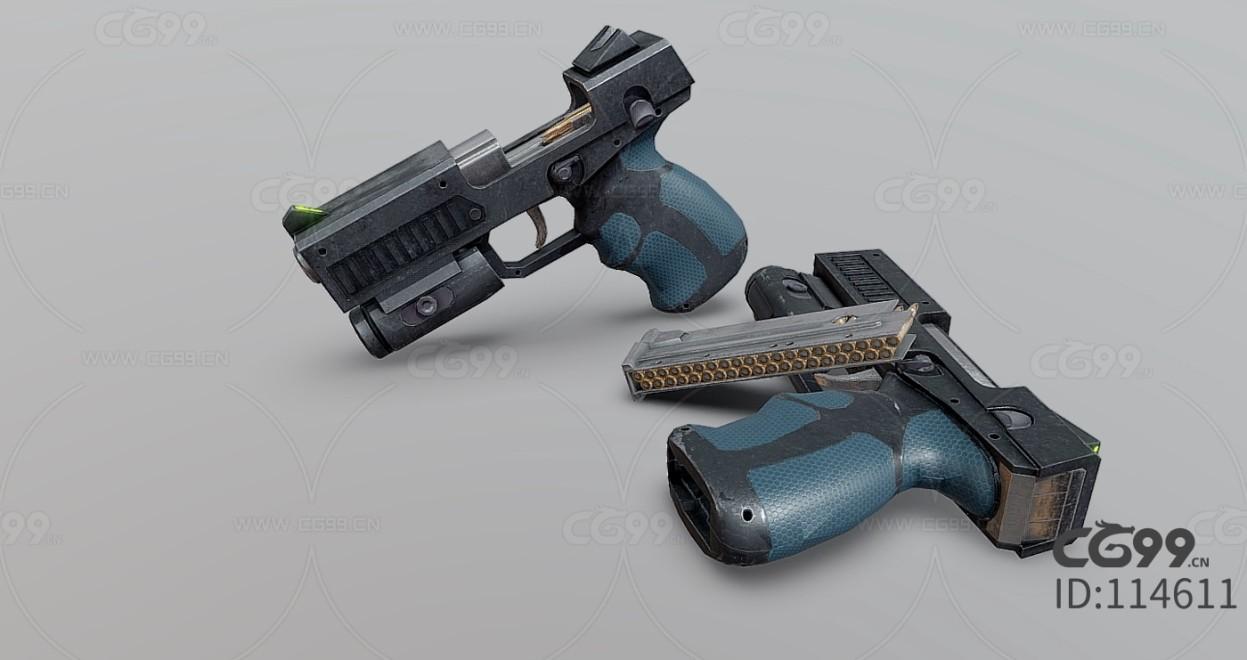 次时代PBR 写实 武器 枪械 手枪 双枪