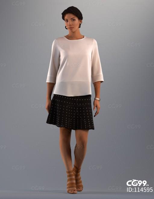 3D扫描角色 写实女性 休闲服饰 斑点裙