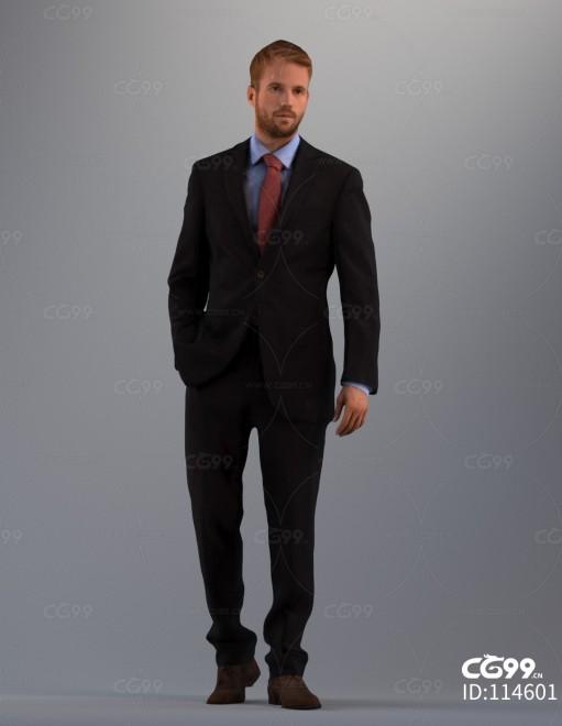 3D扫描角色 写实男性 西装服饰 上班族 老板