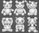 熊猫,熊,棕熊,网红,盲盒,黑白熊,大熊猫,小熊猫,摆件玩具
