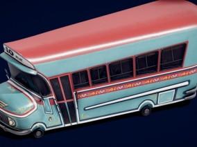 次时代PBR Q版 卡通 交通 载具 阿根廷校巴