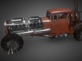 次时代PBR 载具 车辆 废土风改装战车 装甲老式肌肉车
