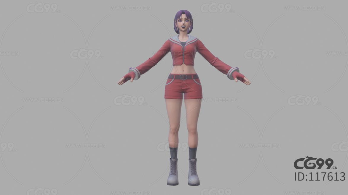 拳皇 3D模型 CG次时代 人物 雅典娜 青春版