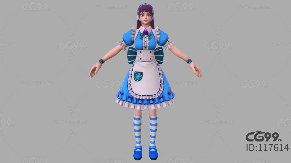 拳皇 3D模型 CG次时代 人物 女仆装 雅典娜