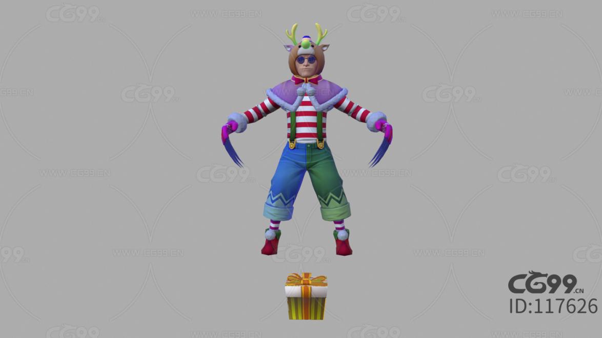 游戏影视 3d模型 人物 角色 拳皇 圣诞装 蔡宝健