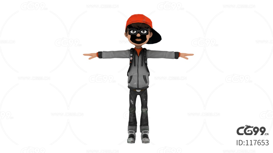 可爱 Q版小男孩 绑定骨骼模型