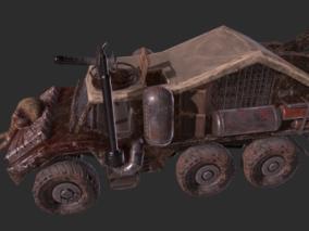 次时代PBR 载具 车辆 废土风改装战车 装甲运兵车