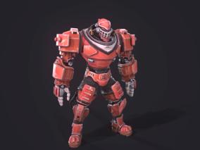 次时代PBR 未来 科幻 机甲 金属风暴 红色 机器人 战士