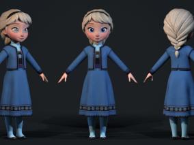 次时代PBR 迪士尼 王国之心3 游戏角色 艾莎孩童版