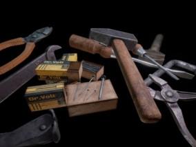 家用工具 螺丝刀 老虎钳 扳手 钉子 场景道具模型合集