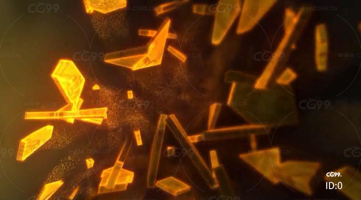 金块金沙成形 LOGO标志 视频模板AE