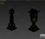 柱子、游戏柱子、场景柱子、3渲2、三渲二、写实柱子、真实柱子、古代柱子、青铜柱子、神兽柱子