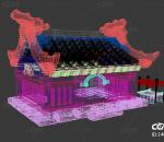 Q版 卡通 建筑 古建 场景  古建 游戏场景 屋顶 围墙 官邸