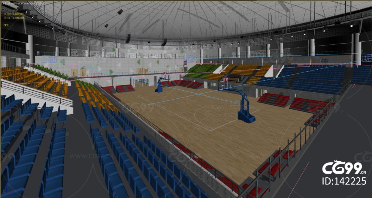 篮球场 体育馆 模型 场景 阶梯 座椅 灌篮 大学体育馆 操场 投篮 室内 NBA 比赛 学校