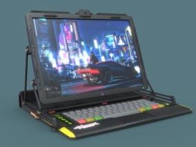 赛博朋克风电脑笔记本CG模型