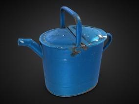 写实破旧风园林浇花铁桶CG模型