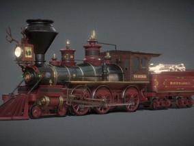 次时代PBR鲁思山伐木公司老式火车FBX模型