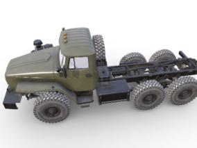 次时代PBR俄罗斯军用卡车乌拉尔-4320FBX模型