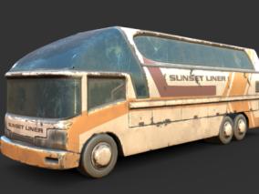 次时代PBR破旧生锈的长途汽车FBX模型