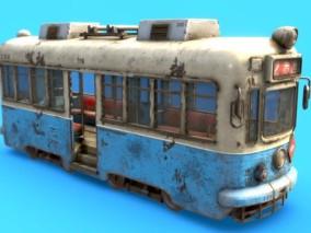 次时代PBR古老的电车FBX模型