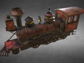 次时代PBR复古生锈破旧火车头FBX模型