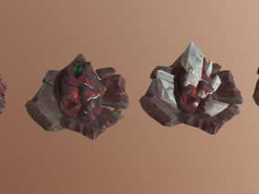 次时代PBR卡通风格宝石堆FBX模型