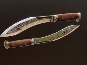 次世代高模 写实 尼泊尔 廓尔喀军刀 狗腿刀 3d模型
