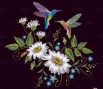 中国风布料刺绣仙鹤动物花纹图案矢素材