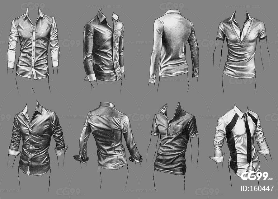 zbrush人物服装衣服褶皱多角度图2.2GB