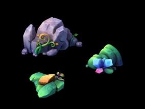 三渲二Q版石头组合3Dmax模型