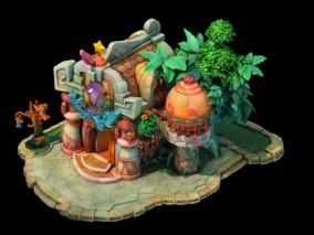 三渲二Q版商业区饰品店3Dmax模型