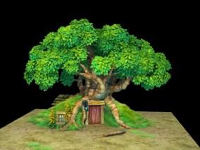 三渲二Q版维尼小屋3Dmax模型