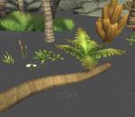 手绘 海岛 棕榈树 芭蕉树 海滩 蕨类 花草 草 草丛 树林 山石 石头 图腾 海岛石 木屋 茅草屋