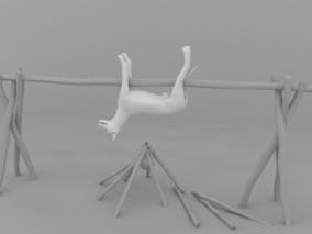 篝火烤狗 3d模型