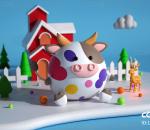 奶牛 花奶牛 可爱 卡通牛 Q版 胖奶牛 牛 吉祥物 IP C4D广告