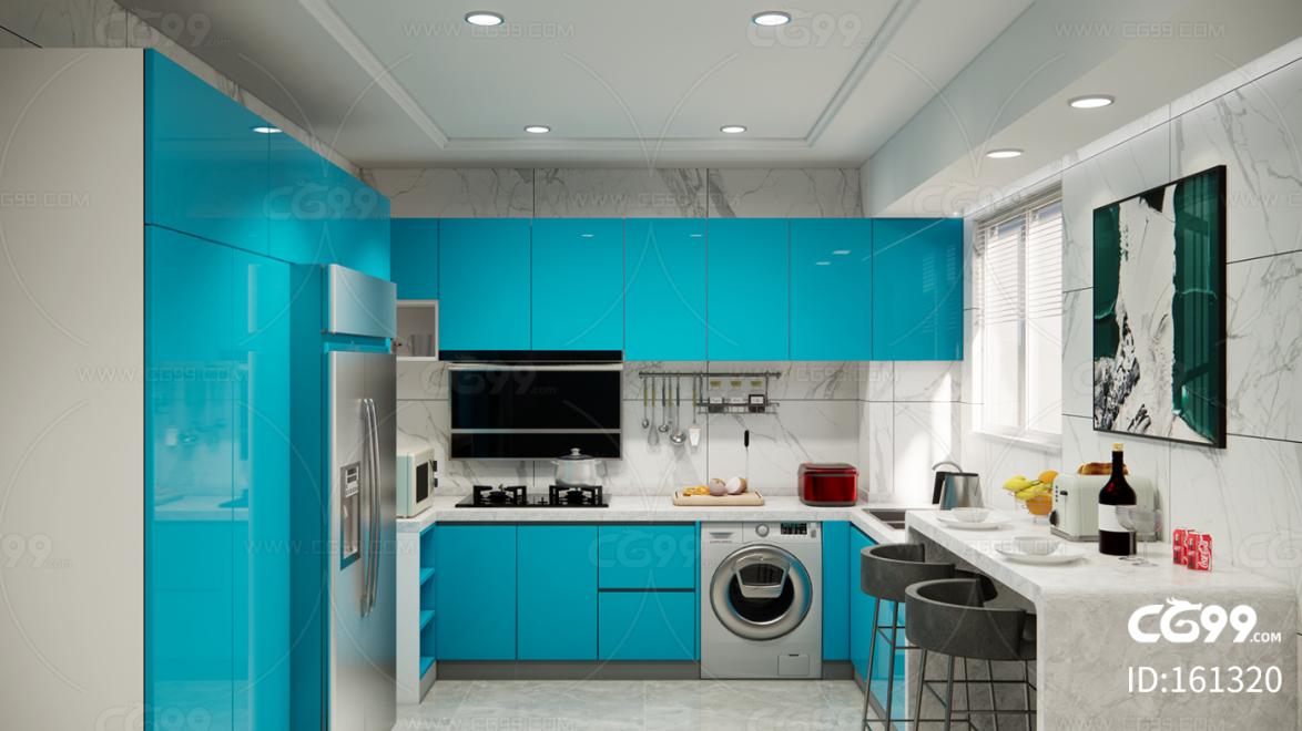 蓝色现代风格厨房
