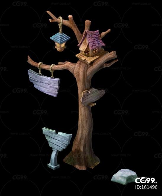 三渲二Q版树木路牌3Dmax模型