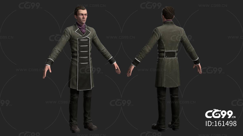 次时代欧美短发礼服服务生FBX模型