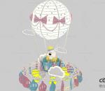 热气球 卡通熊 美陈 小景 dp点 热气球美陈 游乐园 游乐场 游玩设备 Q版卡通