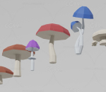 lowpoly蘑菇 菌类植物
