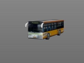 城市公用设施 黄白巴士 3d模型