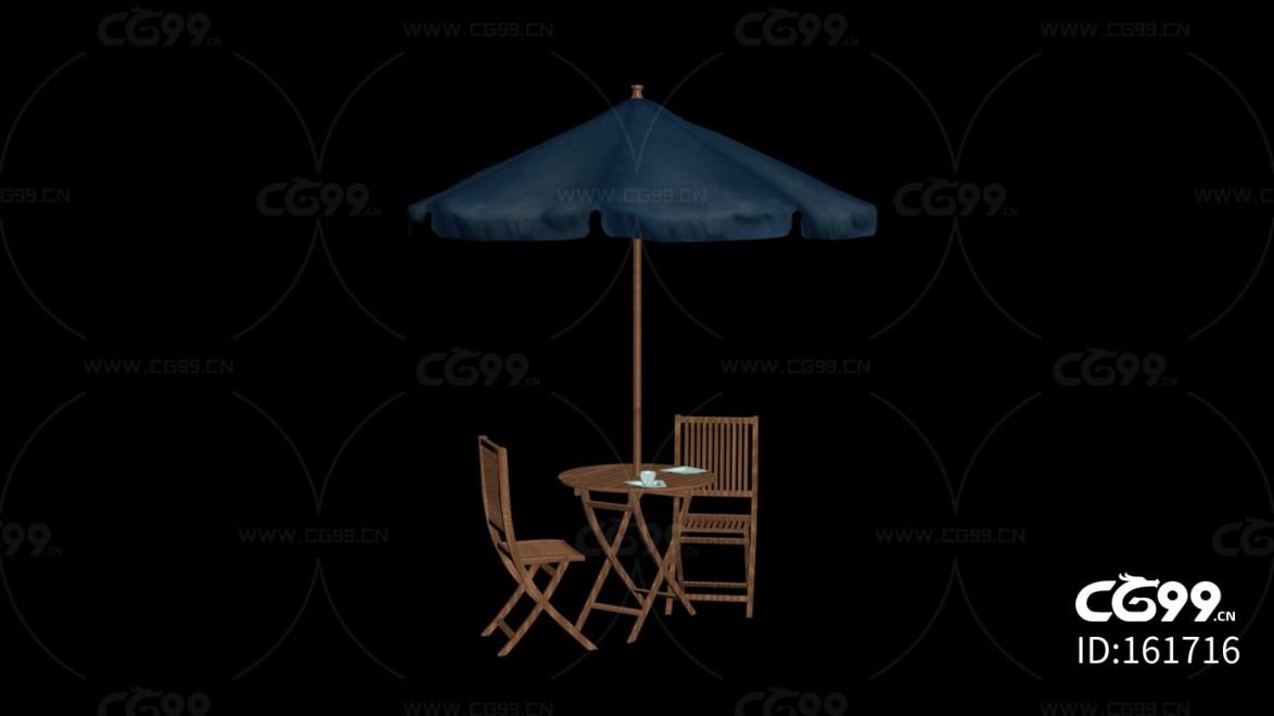 城市公用设施 遮阳伞 多人聚餐