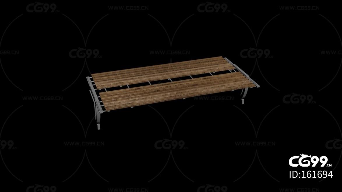城市公用设施 木长椅